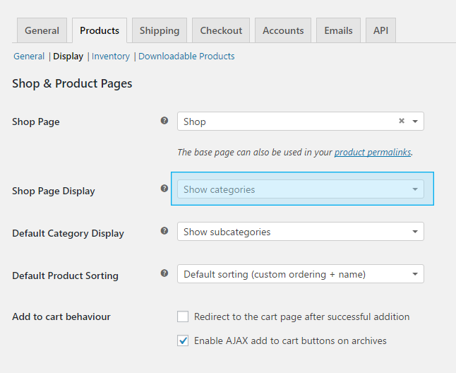 WooCommerce Categories on Shop Page